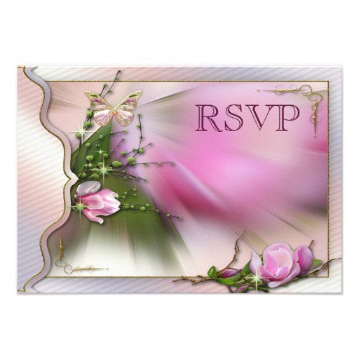 Hübsches rosa Magnolien-Schmetterlings-Schein UAWG Personalisierte Ankündigungskarte