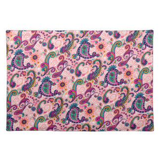 Hübsches rosa Paisley-Muster Stofftischset