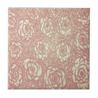 Hübsches rosa Rosen-Muster Fliese