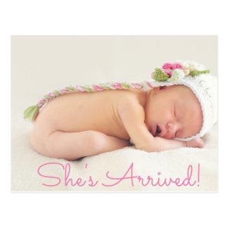"""Hübsches rosa """"Shes kam"""" Baby-Geburts-Mitteilung Postkarte"""