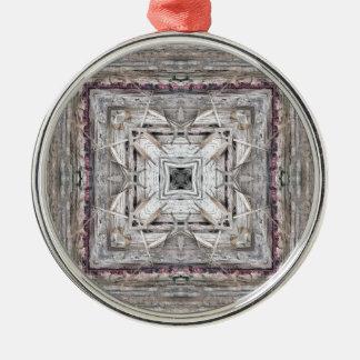 Hübsches Rosa tönte Azteke inspiriertes Muster Silbernes Ornament