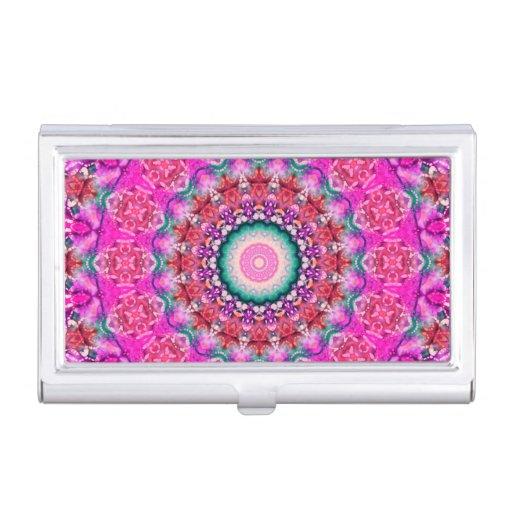 Hübsches rosa u. rotes Mandala-Kaleidoskop Visitenkarten-Halter