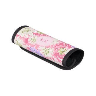 Hübsches rosa und malvenfarbenes Blumenmonogramm Koffergriffwickel