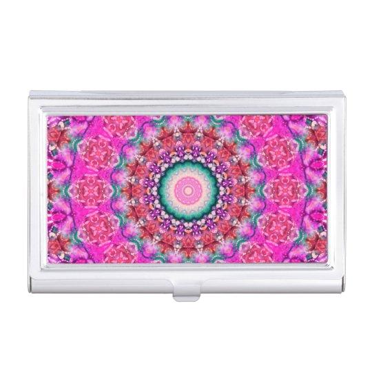 Hübsches rosa und rotes Boho Mandala-Kaleidoskop Visitenkarten-Halter