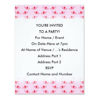 Hübsches Schmetterlings-Muster im Rosa und im Rot 10,8 X 14 Cm Einladungskarte