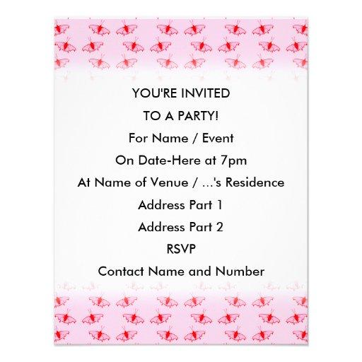 Hübsches Schmetterlings-Muster im Rosa und im Rot Einladungskarten
