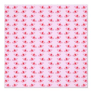 Hübsches Schmetterlings-Muster im Rosa und im Rot Quadratische 13,3 Cm Einladungskarte