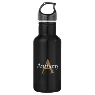 Hübsches schwarzes modernes Goldmonogramm-modische Trinkflaschen