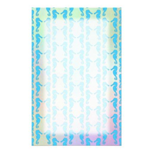 Hübsches Seepferd-Muster. Blaues und Pastellmulti Individuelles Büropapier