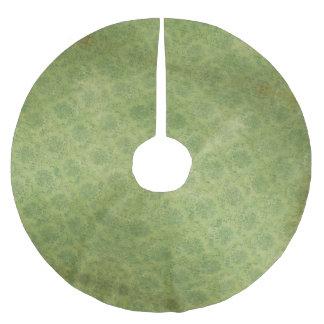 Hübsches Vintages Retro grünes Damast-Muster Polyester Weihnachtsbaumdecke