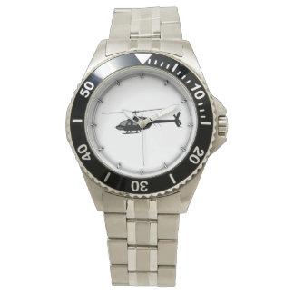 Hubschrauber-Chopper-Silhouette fertigen Farbe Armbanduhr