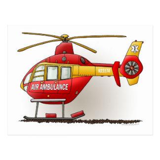 Hubschrauber-Krankenwagen-Postkarte Postkarte