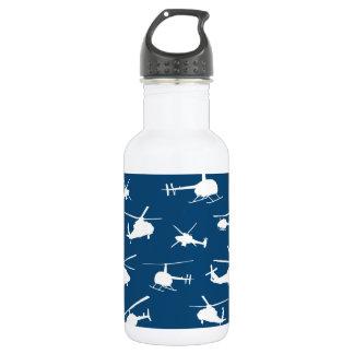 Hubschrauber-Silhouette-//-Marine-Blau // Edelstahlflasche