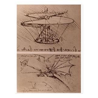 Hubschrauber und anhebender Flügel Postkarte