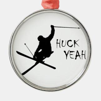 Huck ja (Skifahren) Silbernes Ornament