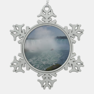 Hufeisen fällt in Niagara Falls Schneeflocken Zinn-Ornament