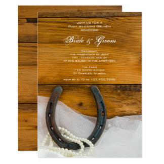 Hufeisen-und Perlen-Land-Posten-Hochzeits-Brunch 12,7 X 17,8 Cm Einladungskarte