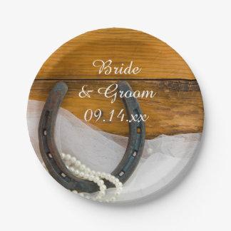 Hufeisen und Perlen-Land-Western-Hochzeit Pappteller 17,8 Cm