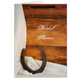 Hufeisen- und weiße Satin-Brautparty-Einladung Grußkarte