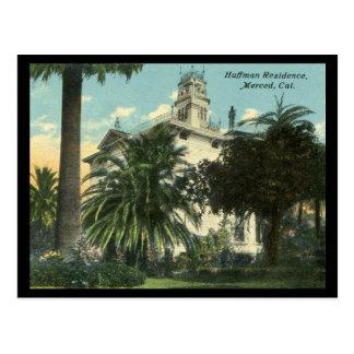 Huffman Villa 1910-1915 in Merced CA Postkarte