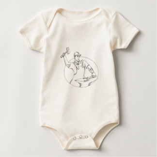 Hufschmied-ausübende Hammer-ovale Gekritzel-Kunst Baby Strampler
