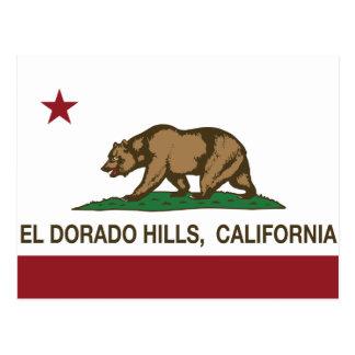 Hügel Kalifornien-Staats-Flaggen-EL Dorado Postkarte