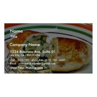 Huhn-Abendessen angefülltes Anfüllen Visitenkarten Vorlage