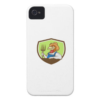 Huhn-Bauers-Heugabel-Wappen-Cartoon iPhone 4 Etuis