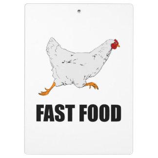 Huhn, das Schnellimbiß laufen lässt Klemmbrett