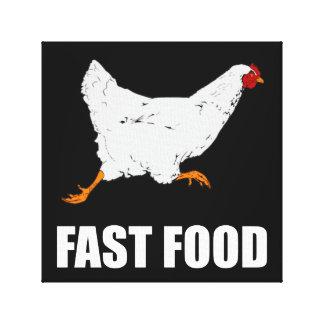 Huhn, das Schnellimbiß laufen lässt Leinwanddruck