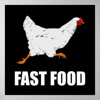 Huhn, das Schnellimbiß laufen lässt Poster
