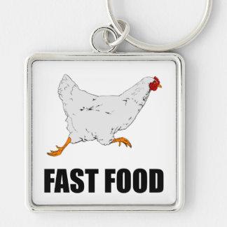 Huhn, das Schnellimbiß laufen lässt Schlüsselanhänger
