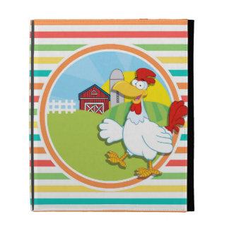 Huhn; Helle Regenbogen-Streifen