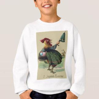 Huhn-Henne-Osterhasen-farbiger Ei-Korb Sweatshirt