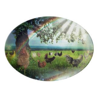 Huhn-Himmels-Platte Porzellan Servierplatte