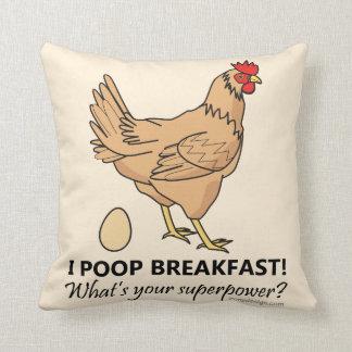 Huhn kackt Frühstücks-lustigen Entwurf Kissen