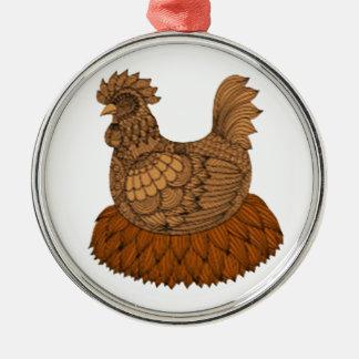 Huhn Rundes Silberfarbenes Ornament