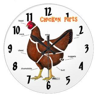Huhn-Teile Große Wanduhr