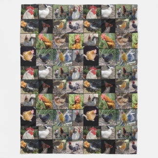 Huhn-und Hahn-Foto-Collage, Fleecedecke