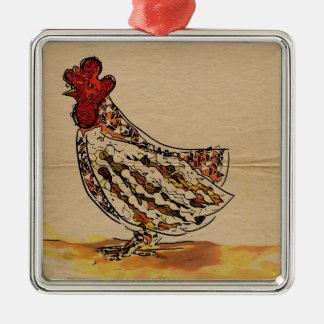 Huhn Vintag Quadratisches Silberfarbenes Ornament