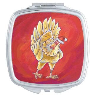 Huhn-Weihnachten auf Rot Taschenspiegel