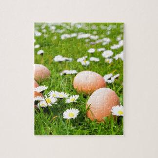 Huhneier im Gras mit Gänseblümchen Puzzle