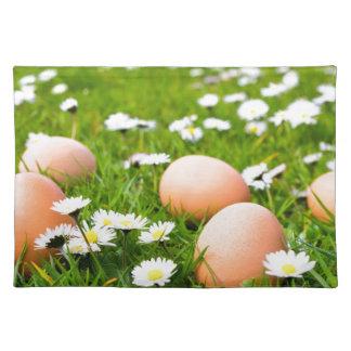 Huhneier im Gras mit Gänseblümchen Stofftischset