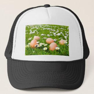 Huhneier im Gras mit Gänseblümchen Truckerkappe