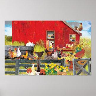 Hühner auf dem Bauernhof Poster