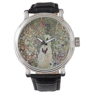 Hühner des Garten-Weg-w, Gustav Klimt, Kunst Armbanduhr