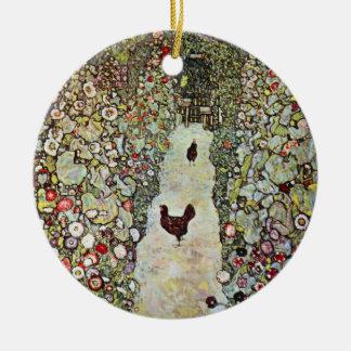 Hühner des Garten-Weg-w, Gustav Klimt, Kunst Keramik Ornament