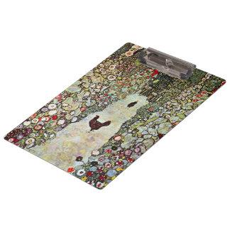 Hühner des Garten-Weg-w, Gustav Klimt, Kunst Klemmbrett