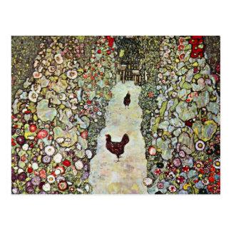 Hühner des Garten-Weg-w, Gustav Klimt, Kunst Postkarte