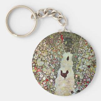 Hühner des Garten-Weg-w, Gustav Klimt, Kunst Schlüsselanhänger